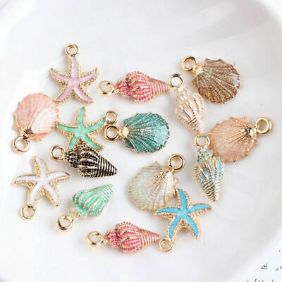 13Pcs Ornaments Charms Metal Conch Sea Shell Pendants DIY Jewelry Making Set