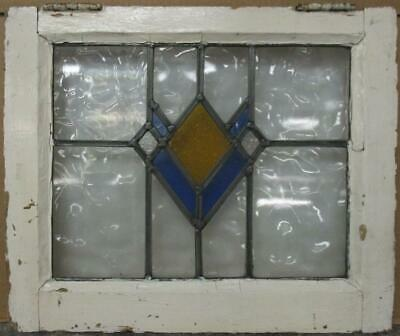 "OLD ENGLISH LEADED STAINED GLASS WINDOW Pretty Geometric Design 20.75"" x 17.25"""