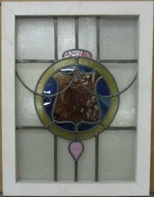 "MIDSIZE OLD ENGLISH LEADED STAINED GLASS WINDOW Gorgeous Abstract 19.5"" x 25.5"""