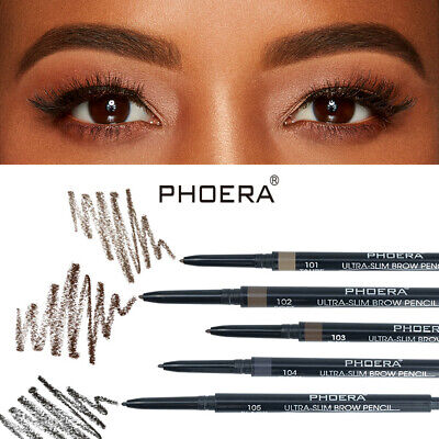 PHOERA 2-in-1 Waterproof Eyebrow Pencil Eye Brow Eyeliner Pen w/ Brush Makeup