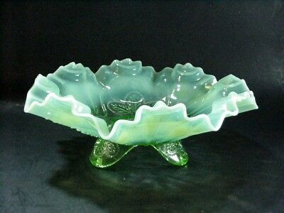 """Lot #2: Jefferson Glass: """"Meander"""" Fluted Opalescent Green Footed Bowl:  9-1/4"""""""