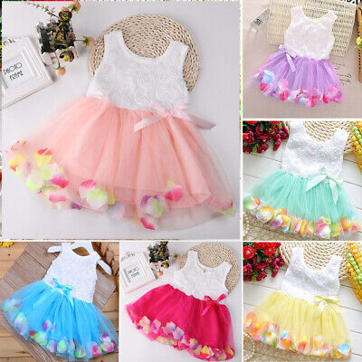 Newborn Flower Pageant Princess Dress Baby Girl Wedding Party Tutu Dresses TP