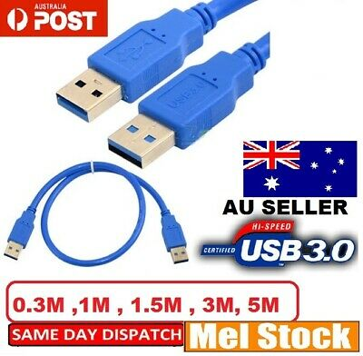 USB 3.0 A Male to A Male USB to USB Cable Cord for Data Transfer Charger Lead AU