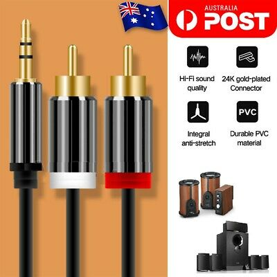3.5mm Stereo Jack to 2x RCA Plugs Male to Male Aux Audio Cable Adapter M/MY Gold