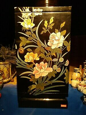 Asian Antique Black Lacquer hand carved ,hand painted small cabinet ,beautifull