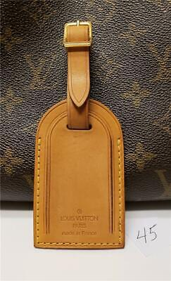 Authentic LOUIS VUITTON Large Leather Luggage ID Tag Name Tag with Strap [#45]