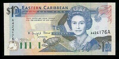 East Caribbean States Antigue 10 Dollars $10  ND 1993 UNC Note QEII P. 27 / 27U