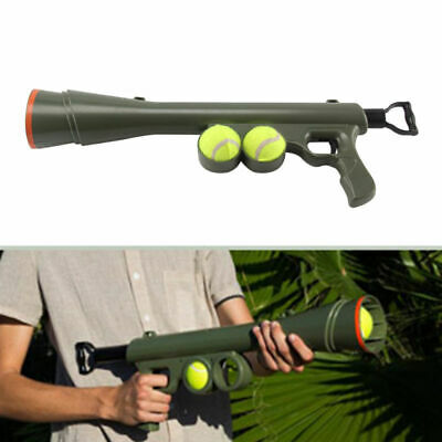 Dog Tennis Ball Launcher Gun Rated Best Toy Includes 2 Balls Sports Thrower Game
