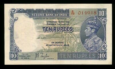 India 10 Rupees ND 1937 J.B. Taylor  B/78 014918 P. 19a gEF George VI