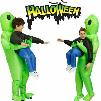 AU Scary Halloween Green Alien Inflatable Costume Blow Up Suits Party Dress NEW