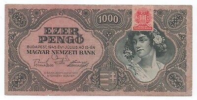 HUNGARY 1000 Pengo 1945 with Stamp VF Condition