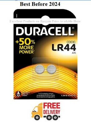 2 x Duracell LR44 1.5V Alkaline Button Cell Batteries LR 44 A76 AG13 Pack of 2