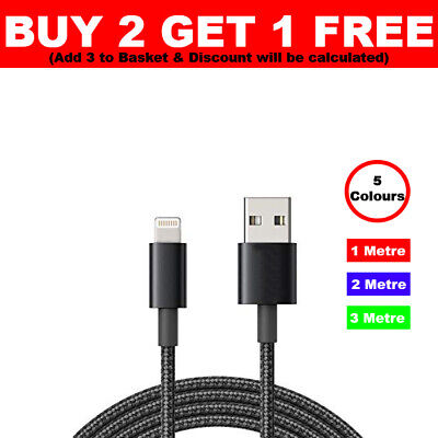 For iPhone 11 Pro Max Long Braided USB Quick Charger Data Charging Cable Lead