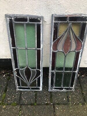 "Vintage Leaded Stain Glass Windows In Great Condition 18 1/4"" X 6 1/2"""