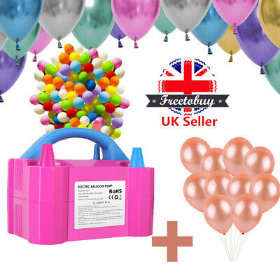 Portable 600W Electric Balloon Pump Inflator Air Blower Two Nozzle Party UK Plug