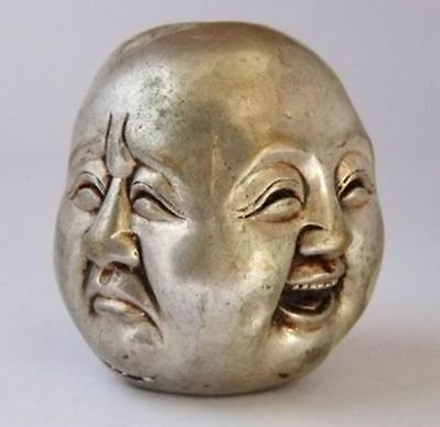 Chinese Old Tibet Silver Carved Buddha Head Statue Nr