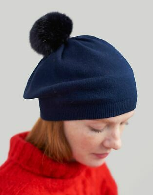Joules Womens Cosybridge Knitted Beret With Pop A Pom in FRENCH NAVY in One Size