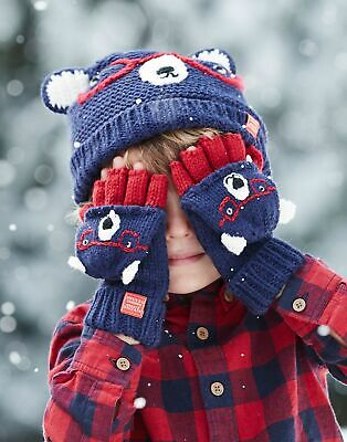 Joules Boys Chummy Character Mittens in BEAR Size 8yrin12yr