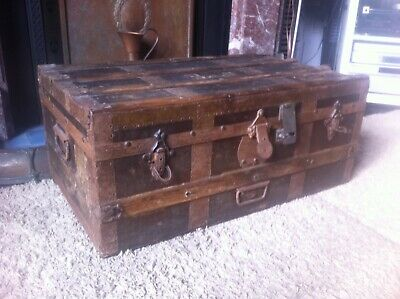 Victorian travel chest, steamer trunk