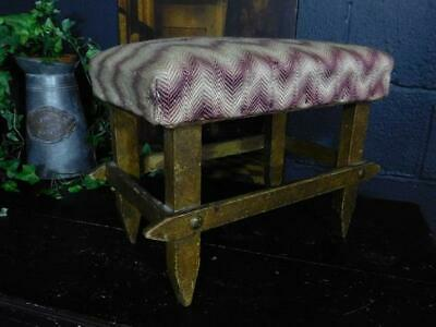 Antique Country Rustic Arts And Crafts Footstool Stool