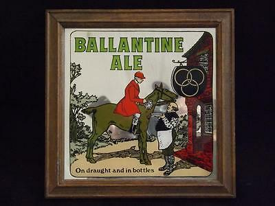 "Ballantine Ale Bar Mirror George Nathan Assoc. #967 9"" Square Wood Frame 1973"