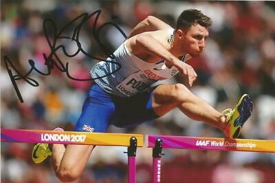 ATHLETICS* ANDREW POZZI SIGNED 6x4 LONDON 2017 ACTION PHOTO+COA *TEAM GB*