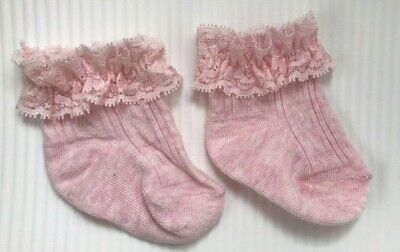 Baby Girl Lace Socks / Pink Brand New With Defect Free P&P UK Seller