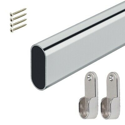 Wardrobe Rail Oval Chrome Hanging Rails 1000mm /1m With End Supports & Screws