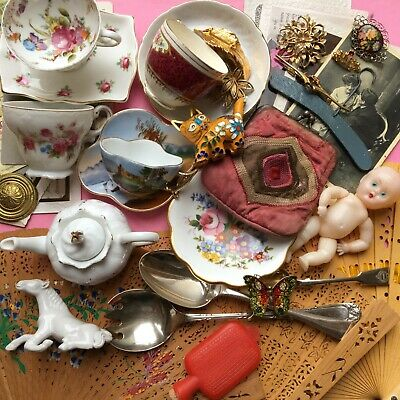 Job lot vintage collectables china fans jewellery doll horse purse cat + more