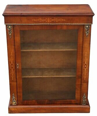 Antique inlaid figured walnut pier display cabinet C1880
