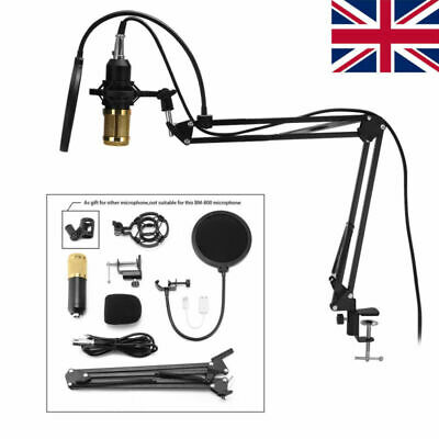 BM800 Condenser Microphone Mic Kit Studio Sound Recording Mount Arm Stand USB UK