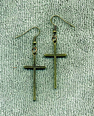 Large Antique Bronze CROSS New Earrings Handmade Free Ship Unique Gifts