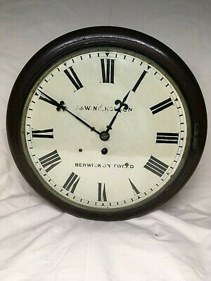 Antique English Fusee Dial Clock by J. W. Nicholson. Fully overhauled serviced
