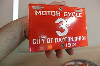 City Of Dayton Ohio 1912 #3 Motorcycle License Plate Porcelain Sign Gas Harley
