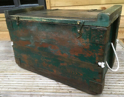 Antique Victorian Pitch Pine Brass Iron Rope Blanket Storage Tool Box Chest 1890