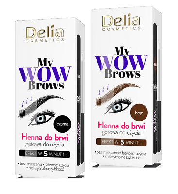 Delia Cosmetics My Wow Brows Eyebrows Henna Ready To Use Black Brown