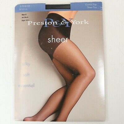Preston /& York French Cut Pantyhose Size 5 Medium Nude #1934 Sheer Toe