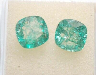 7.45 Ct pair of 2 pcs Natural Green Colombia Emerald  Gemstone