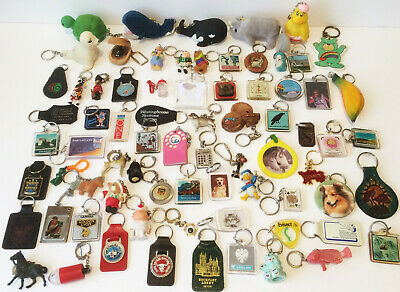Huge Job Lot Vintage Key Rings Keychains Seventies Eighties Nineties