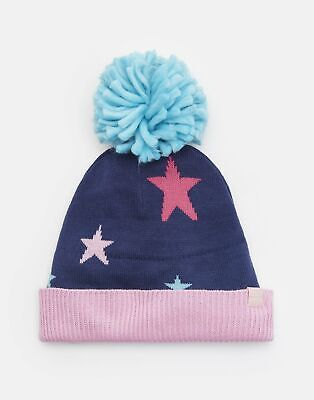Joules Girls Halley Intarsia Oversized Bobble Hat in STAR Size 4yrin7yr
