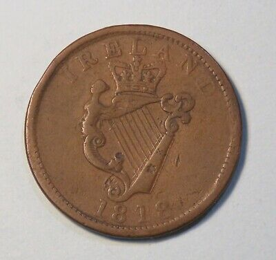 1818 Ireland Token Penny Coin King George III Luke XX Tax Protest Pay to Ceasar