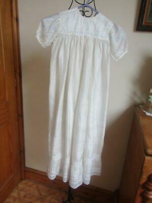 Lovely Antique Silk Christening Gown Lace Insets