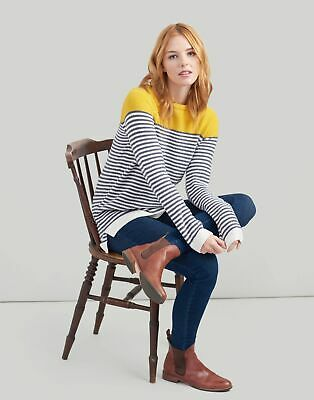Joules Womens Seaham Chenille Jumper in GREY CREAM GOLD Size 10