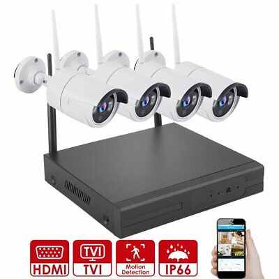 4CH 1080P NVR Outdoor Wireless Security System WiFi Network IP IR Camera CCTV
