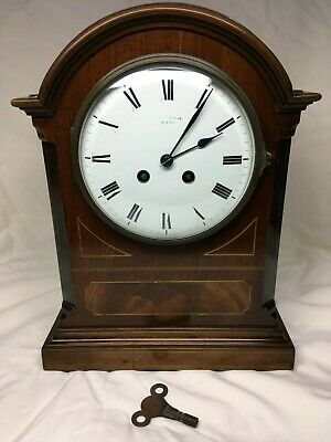 Mid 19th C 8 day striking French drum clock in Mahogany case. Fully overhauled