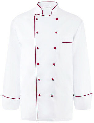 Greiff Chef Jacket without Buttons 360-217 White/Burgundy Sz. 54 New