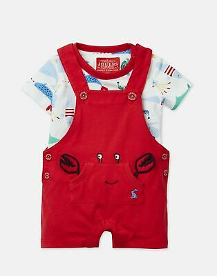 Joules 205232 Short Length Dungarees Set in NEW MELON Size 6min9m