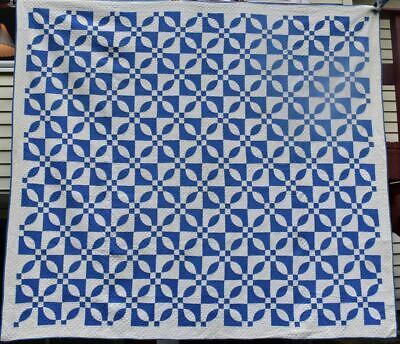 "Antique Blue & White ""Robbing Peter"" Quilt, Well Quilted, Small Piecework #18603"