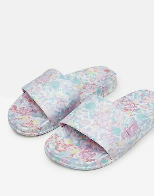 Joules Girls Poolside Pvc Sliders in WHITE MERMAID FLORAL Size Childrens 2