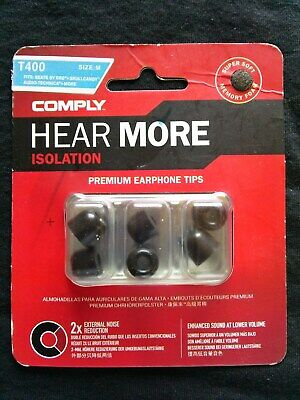 COMPLY - Premium Earphone Tips - Isolation Foam - T400 / Medium - 3 Pairs *NEW*